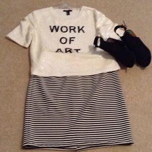 Sugarlips Black & White Striped Pencil Skirt